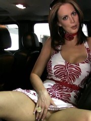 Gorgeous Nikki Nova decides to get changed in the car where everyone can see her!
