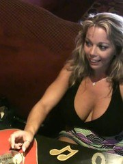 Amber Lynn Bach and Rachel Aziani have fun flashing for the camera at the bar!