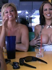Nikki Nova exposes her amazing boobs and sweet pussy while out having lunch with