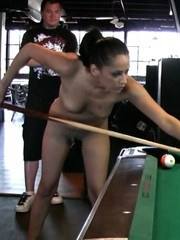 Brunette babe Cassidey has fun playing a naked game of pool!