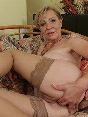 Unshaved housewife playing with her pussy