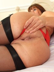 Naughty British mom playing with her big toy