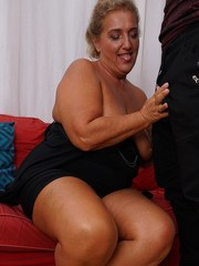 Chubby housewife doing her toy boy