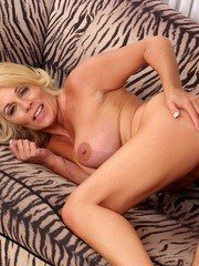Blonde granny sucks a mature cock and then gets her pussy reamed with it