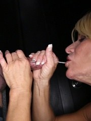 Gina sucks 7 strangers at our gloryhole and loves their cum.