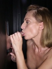 Sexy fit Madison sucks off 14 strangers at our gloryhole and swallows their cum.