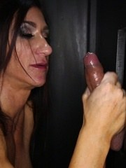 Bodybuilder Elisa Ann sucks off and swallows 10 strange guys in our gloryhole.