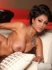 Priya Anjali Rai strips from her black see through lingerie and spreads her sexy