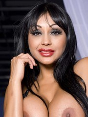 Priya Anjali Rai in her black leather zip up dress exposes her giant tits and red