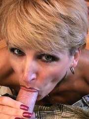 Racquel Devonshire gives the new lawn boy a special tip...a hot wet blowjob!