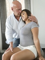 Older guy and younger girl are a perfect match in this lovely old and young new fantasy.
