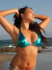 Sexy Asian Alluring Vixen babe Hoshi shows off her perfect body at the beach in a