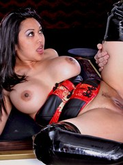 Busty slut Mika Tan gave a blowjob and get pounded hard.