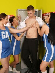The college nerd has just walked into the changing room when three bitchy netball