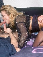 Horny blonde gives sloppy blowjobs and takes hardcore anal