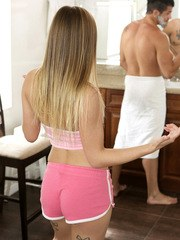 Bambino is shaving but his stepsister Sydney Cole needs to take a shower. When Bambino