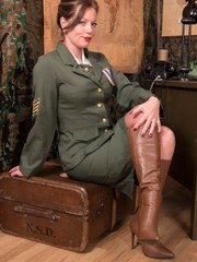 Sgt. Holly is looking for real action! Lock and load your shooter as she strips and