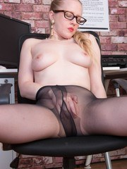 Lucy is so naturally horny shes always sexed up at work! Maybe its the sheer black