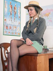 Curvy Ms Wood hot with Jess putting nylons on her teen legs!
