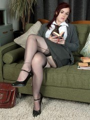 Jay is having some quite study time in black ff nylons and white panties!