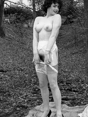 1960s nyloned brunettes strip in the woods!
