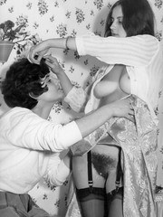 Lesbians in full skirts garters and seamed nylons from the 1960s