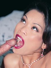 Asian sluts pussy  ass are quickly filled with meaty cock