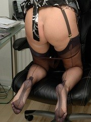 Office babe panty and nylon play