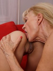 Hot old and young lesbian couple going at it
