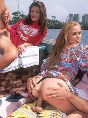 Boat ride ends in hardcore trio for blonde  brunette teens