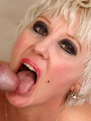 Horny granny gets her tits sucked before taking the dick in her mouth and mature