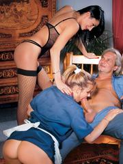 The waitress joins old man and her vicious wife on a trio