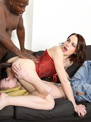 Swinger slut shows her pussy before taking a bbc before taking it in her pussy and