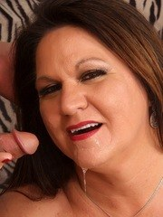 Sexy old woman sucks ayounger dick and then gets her pussy drilled with it