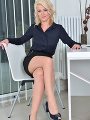 Lusty blonde Luci Angel is a certified milf who wants to show you her hanging tits
