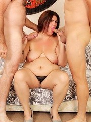 Sexy BBW sucks two dicks and then gets her pussy and asshole filled with them