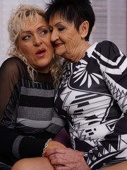 Two naughty mature lesbians have great fun together