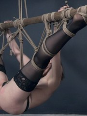 Sosha Belle is pretty as a picture in her little black dress. OT has her bound at