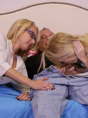 Naughty milf calls her boyfriend and demonstrates her blowjob skills to young Anastasia