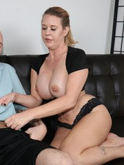 Busty milf milking monster-sized prick and jerks it while begging him to cum for