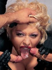 Glamour blonde gets an anal treatment with toys and a facial
