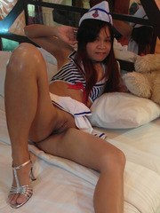 Sexy Japanese MILF plays with pussy and fucks horny tourist