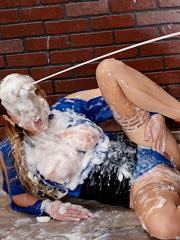 Elegant seductress gets covered with sperm on the gloryhole
