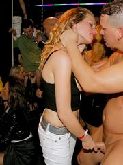 Excited blonde minx gets mouth fucked deep at a public party