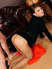 Hot brunette in stockings gets nailed and covered with pee