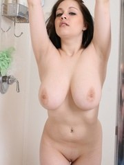 Chubby girl in the shower