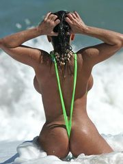 Alicia DiMarco at the beach playing