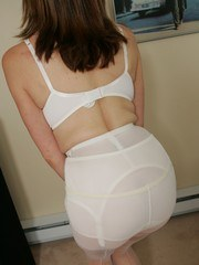 Busty milf Abi shows off her lingerie