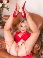 Lady in red sure to raise pulses especially gorgeous pantyhosed blonde Penny ready