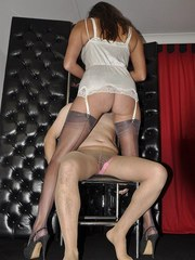 Nylon Jane dresses up her sissy in pantyhose and lingerie and then uses her special
